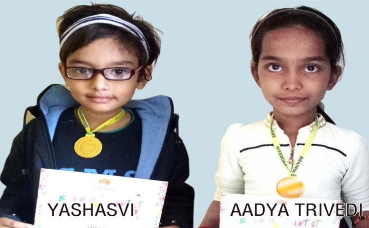 Drawing competition में CMS छात्राओं को गोल्ड मेडल